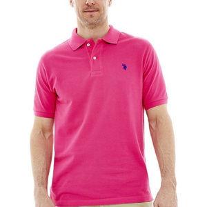 NWT U.S. Polo Assn. Men's Solid Pink Polo Shirt